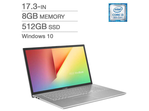 "Asus K712FA K712FA-Q32S-CB 17.3"" Notebook - 1920 x 1080 - Intel Core i3 (8th Gen) i3-8145U 2.10 GHz - 8 GB RAM - 512 GB SSD -  - Windows 10 - Intel UHD Graphics 620 - IEEE 802.11ac Wireless LAN- Mfr #: K712FA-Q32-CB"