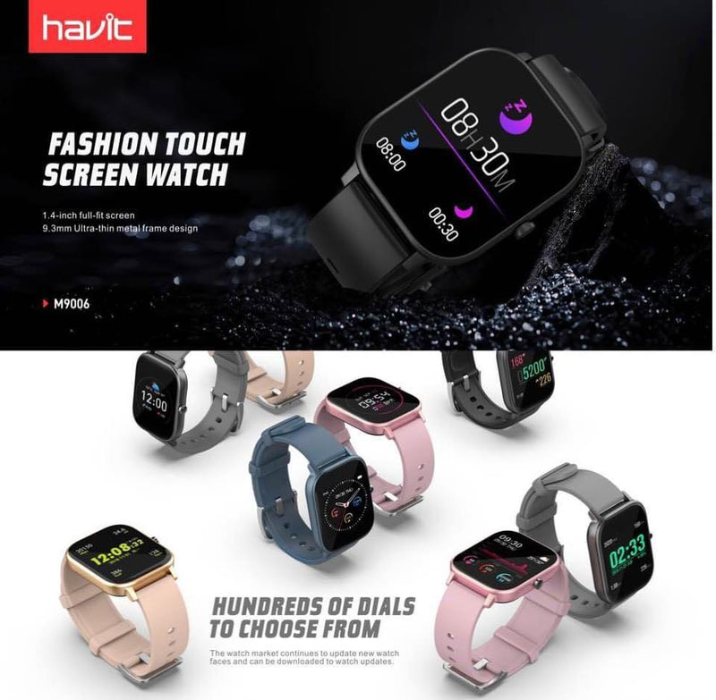 "HAVIT M9006 1.4"" Water Resistant, Smart Watch, Tracker, Sport Bracelet, Portable, Intelligent, Oxygen Monitor, Fitness"