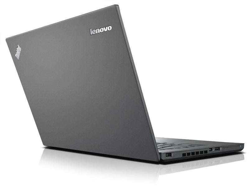 "back of open laptop, Specs: Refurbished Lenovo T440 Ultrabook, Intel Core i5-4300u, 8GB 12GB RAM DDR3 Memory, 128GB 256GB 512GB 960GB SSD Storage, 1TB 500GB HDD, 14"" screen size, 1366x768 resolution, 1.9 GHz processor speed, 2 processor cores, Windows 10 Professional operating system, Grade A Refurbished Computer PC. 90-Day Warranty, Parts and Labor"