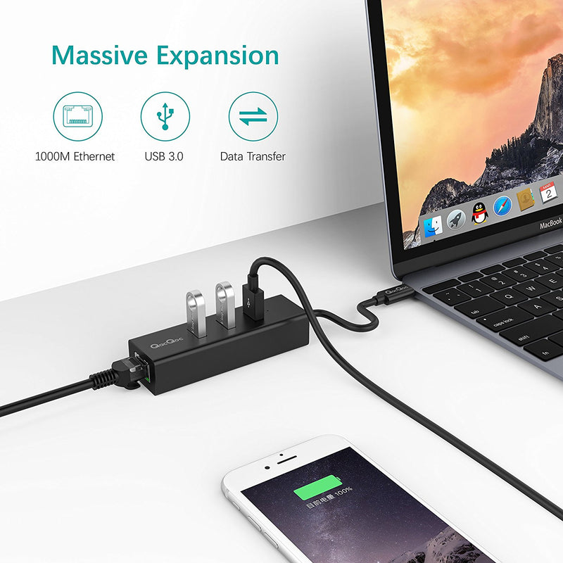 USB Type-C to LAN Adaptor with 3 USB Ports