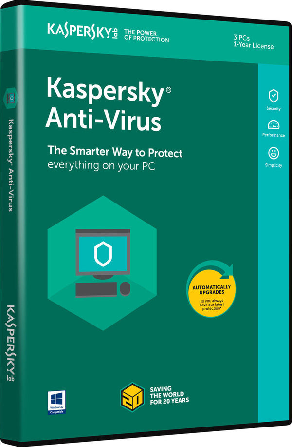 Kaspersky Anti-Virus 2019, 3-PC, For Window PC