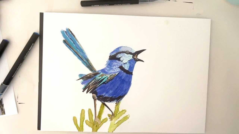 Watercolour Fairy Wren painted with Watercolour Brush Pens