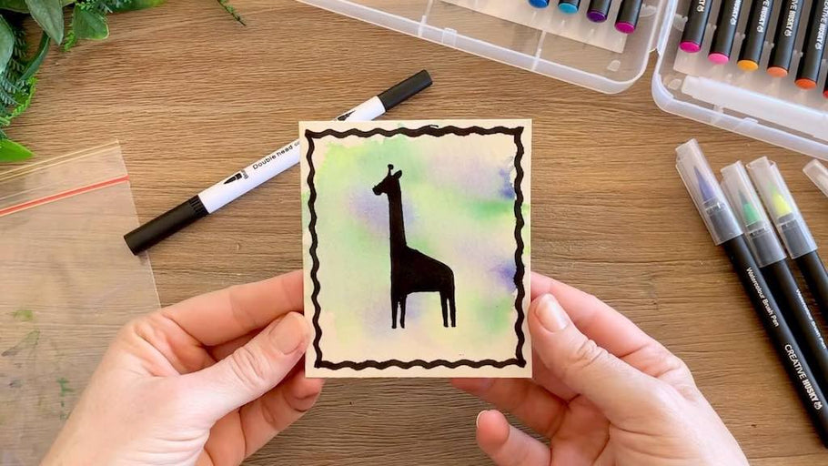 Handmade Cards Tutorial using Watercolour Brush Pens