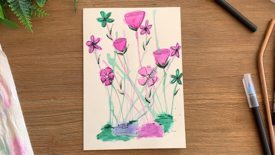 Watercolour Brush Pens Tutorial - Watercolour flowers made with a straw!