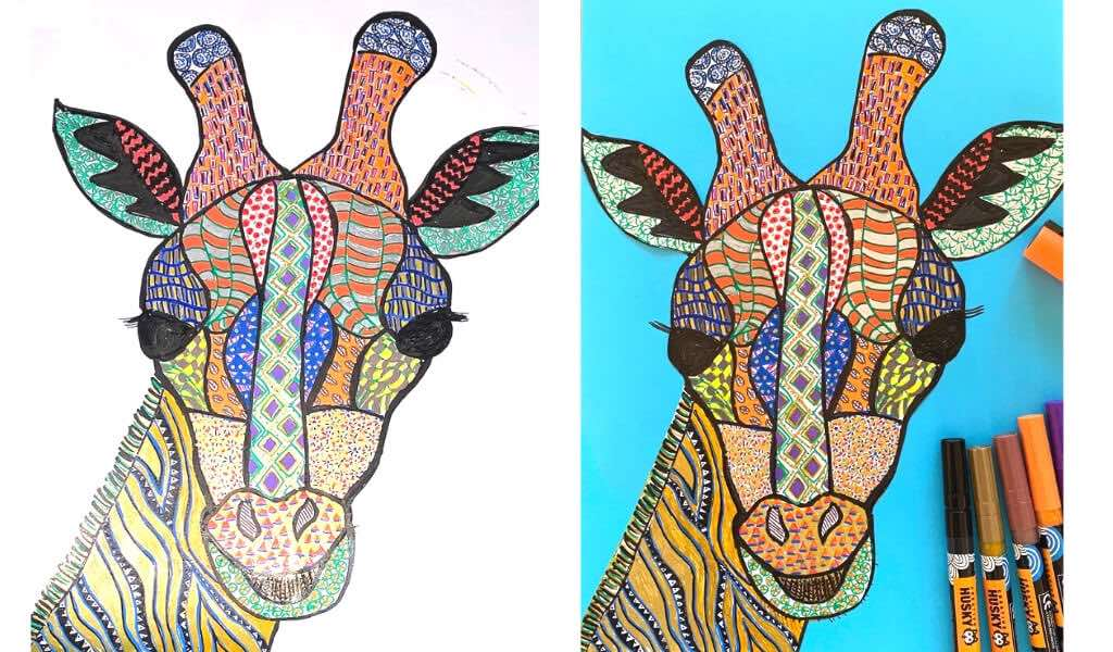 paint pens project - giraffe face