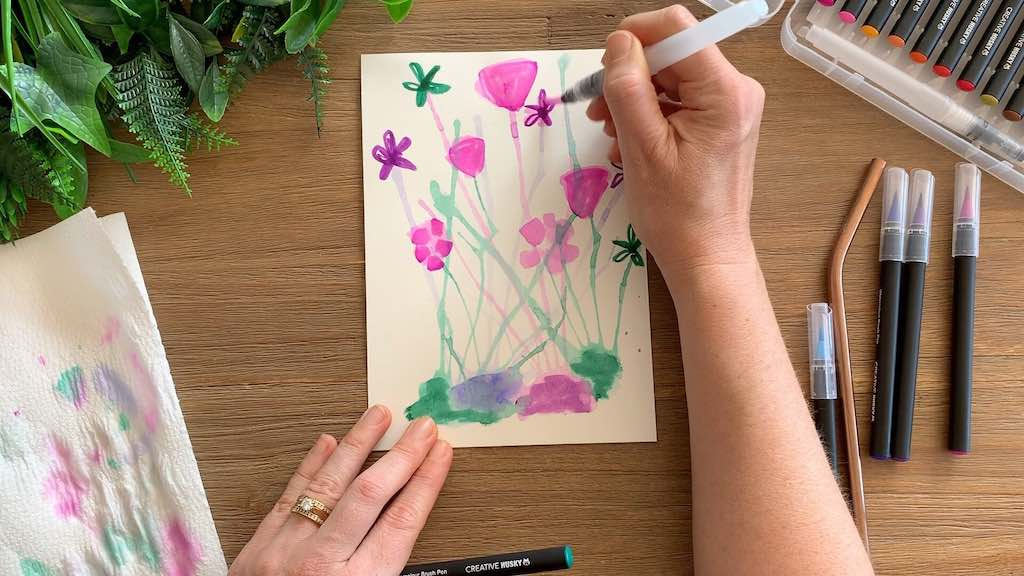 Watercolour Brush Pens - Easy flowers with a straw