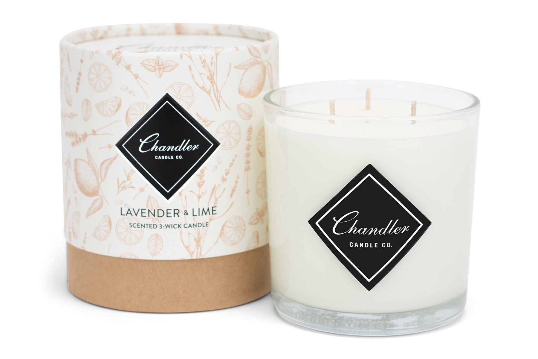 Large 3-Wick Lavender & Lime Scented Candle