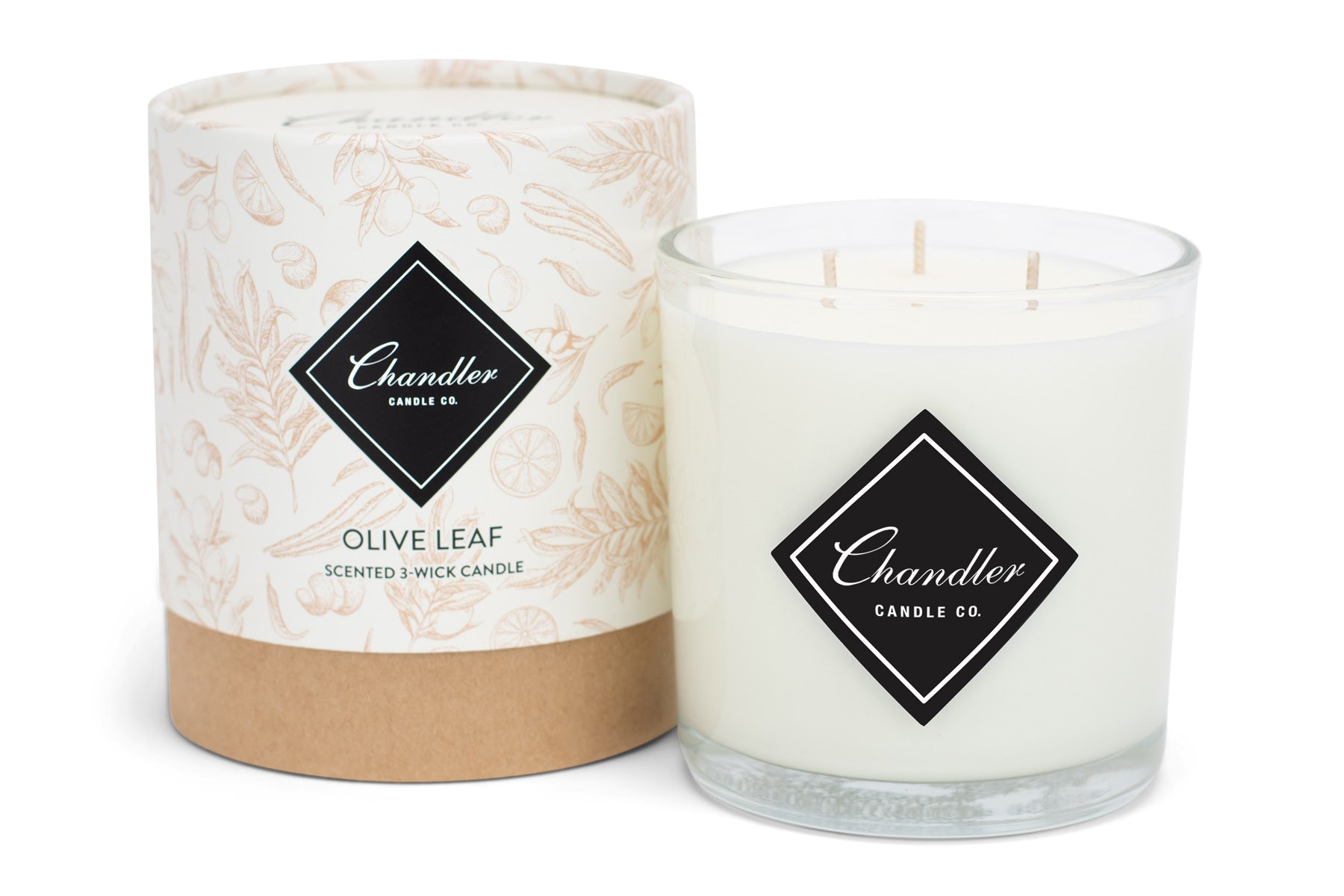 Large 3-Wick Olive Leaf Scented Candle