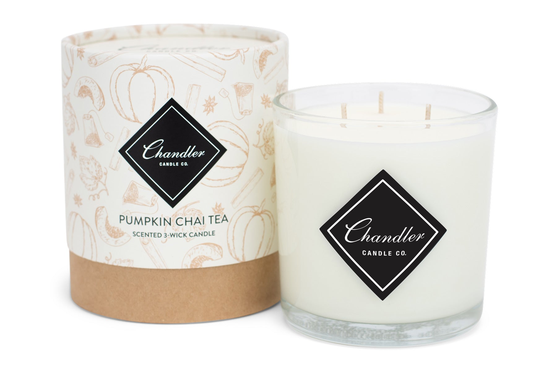 Large 3-Wick Pumpkin Spice Chai Tea Scented Candle