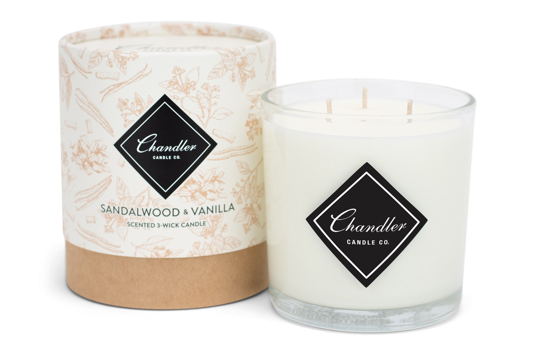 Large 3-Wick Sandalwood & Vanilla Scented Candle
