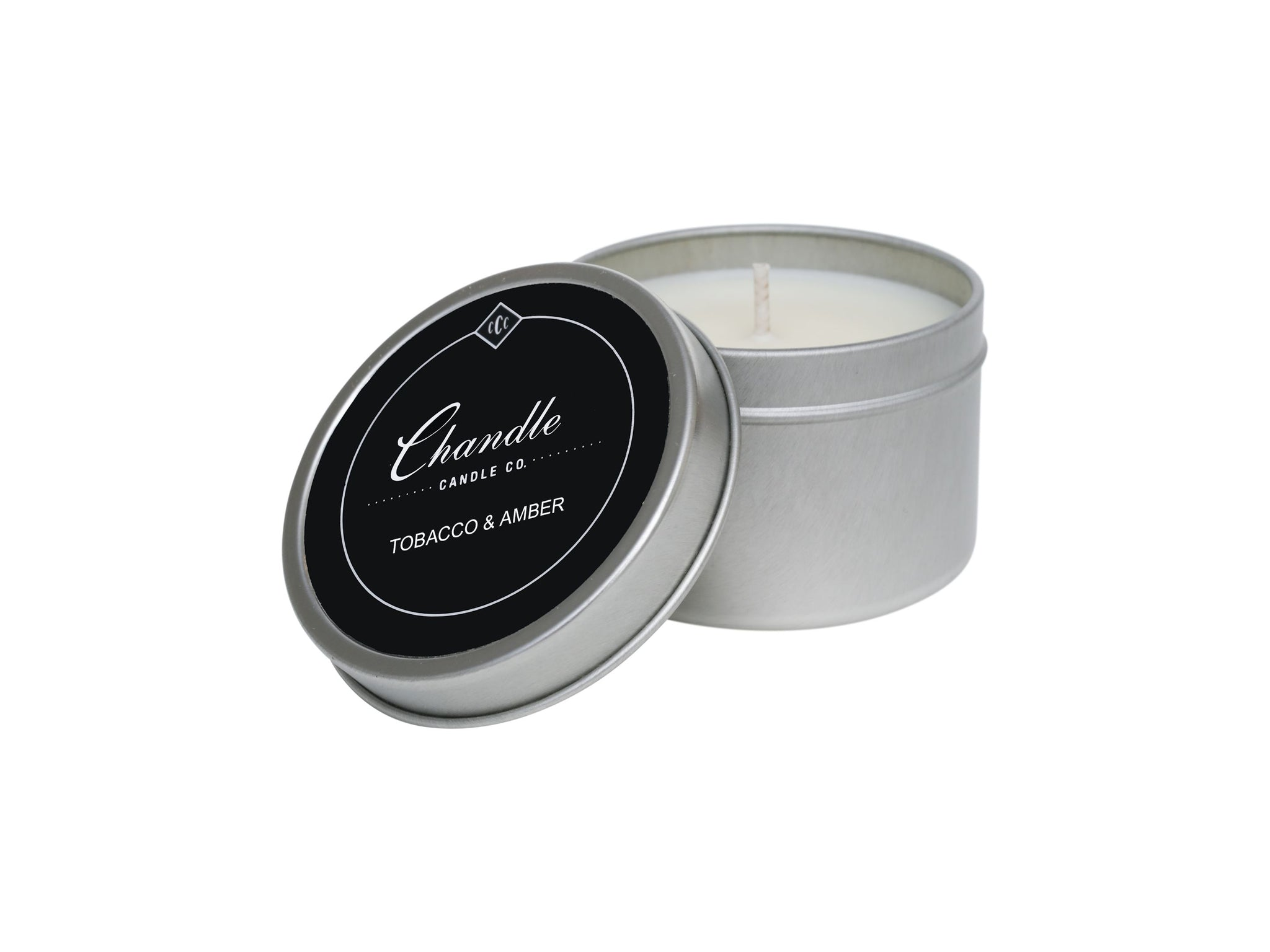 Tobacco & Amber scented travel tin candle