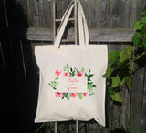 Personalized Bridesmaid Tote, Mother of the Groom, Wedding Tote Bag, Wedding Party, Canvas Tote, Floral Wreath