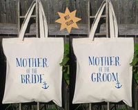 Mother of the Bride & Mother of the Groom Set- Wedding Tote Bags, Floral Wedding Bags, Nautical, Anchor
