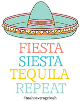 Fiesta Siesta Tequila Repeat Colorful Bachelorette Tote , Wedding Welcome Tote Bag