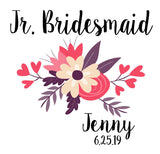 Junior Bridesmaid Gift, Bridesmaid Gift Tote Bags, Floral Wedding Totes, Flower Girl Tote, Personalized Tote Bags for Wedding