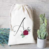 Burgundy wedding Flower initial, Bridesmaid Favor Bag, Hangover Kit bag, Drawstring Favor Bags, Personalized Bridesmaid gift