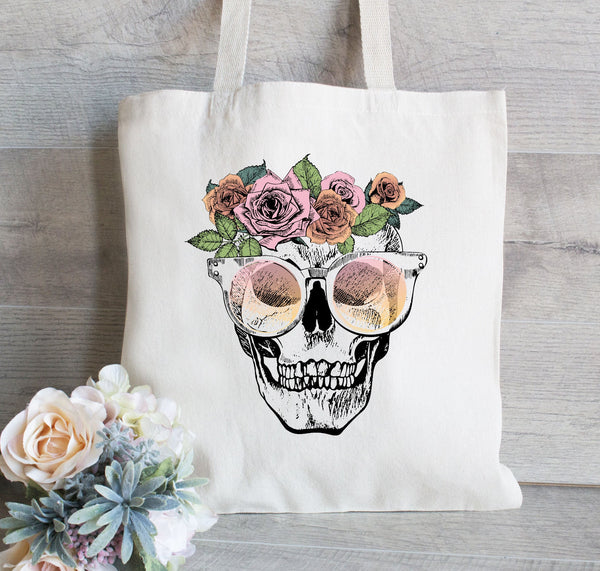 Everyday Tote Bag, Grocery Tote Bag, Skull with flowers, Day of the Dead Tote Bag, Book Tote, Gift for Her