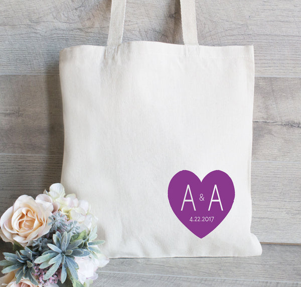 Wedding tote bag with heart, Heart tote bag, Bridesmaid Gift Bag