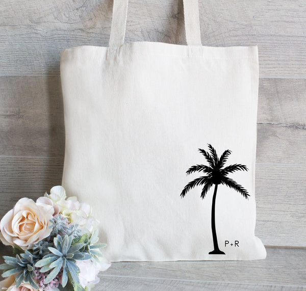 Wedding Welcome Tote Bags, Destination Wedding Favor, Palm Tree Tote Bag, Hotel Guest Bag, Bridal Party Tote Bags, Guest Bags