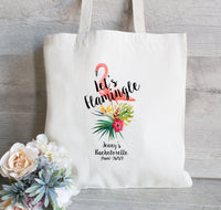 Lets Flamingle , Bachelorette Party Tote Bags, Canvas Tote, Wedding Welcome Tote Bags