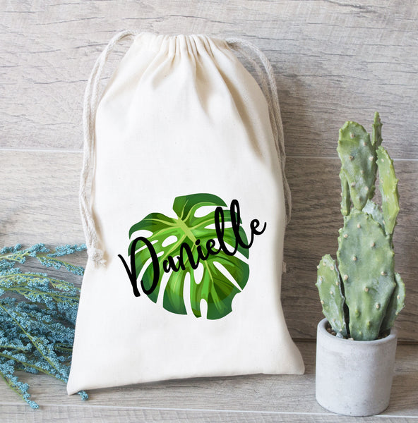 Bridesmaid Favor Bag, Tropical Leaf with Name, Custom Wedding Tote Bag, Bridesmaid Bag, Monogram Gift Bag