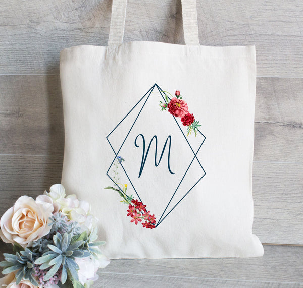Bridesmaids Bags Set of 8, Tote Bags Bridesmaids Gifts for Bride & Bridesmaids, Floral Wreath Bags for Wedding