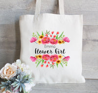 Flower Girl Tote, Gift for Bridesmaid, Bridal Party Gifts, Gift for Her, Wedding Tote Bags, Bachelorette Party Totes, Floral Tote Bag