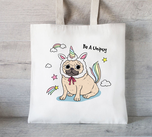 Pug Tote Bag, Reusable Tote Bag, Unicorn Pug , Grocery Bag, Dog Tote, Unipug
