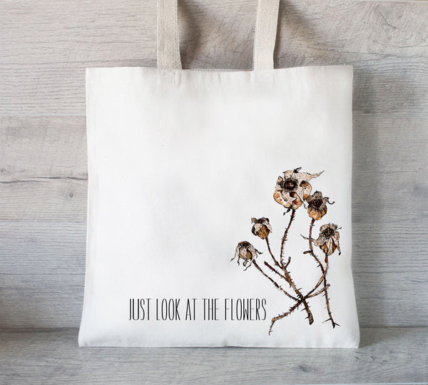 Everyday Tote Bag, Grocery Tote Bag, Zombie Tote, Dead, Walking, Just Look At The Flowers, Walking Dead Tote Bag