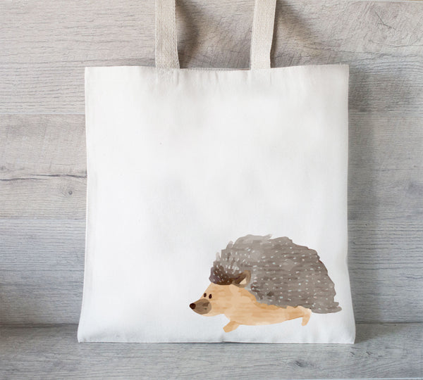 Hedgehog Tote Bag, Reusable Tote Bag, Watercolor Hedgehog, Grocery Bag, Hedgehog love gift, small pet tote bag