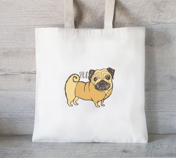 Pug Tote Bag, Reusable Tote Bag, Dog lover gift, Grocery tote bag, I love pugs, Dog tote bag