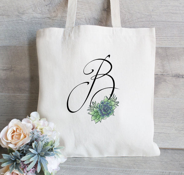 Succulent Bridesmaid Tote Bag, Monogram Tote Bag, Bridesmaid Wedding Welcome Tote Bag, Bridal Party Gift