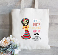 Bachelorette Tote Bag, Mexico Bachelorette Tote Bag, Fiesta Siesta Repeat -Mexican Wedding, Day of the Dead, Canvas Tote Bag