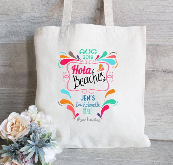 Hola Amigo Bag for Bachelorette Party, Canvas Tote Bag, Personalized Bachelorette Tote Bag Favor, Colorful Tote Bag