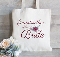 Grandma of the Bride, Personalized Tote Bag, Gift For Grandma, Floral Bag for Wedding Party