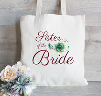 Sister of the Bride Gift, Best friend Gift, Sister Gift,  Personalized Tote Bag, Gift For Sister , Floral Bag for Wedding Party