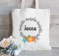 Bridesmaid tote Bag, Bridesmaid Gift Bag, Bridesmaid Wedding Welcome Tote Bag, Floral Wedding Tote Bag, Bridal Party Gift