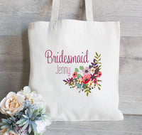 Bridesmaid Tote Bag, Wedding Welcome Bag, Flower Girl Tote Bag, Gift for Bridesmaid, Wedding Party Gifts