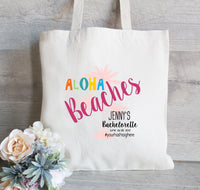 Aloha Beaches Tote Bag, Hola Beaches Gift for Bachelorette Party, Mexico Bachelorette Party, Canvas Tote Bag, Beach Tote,