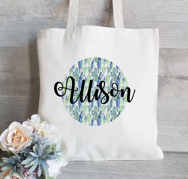 Bridesmaid Gift, Cactus Pattern, Personalized Bridesmaid Tote Bag, Cactus Tote, Succulents, Wedding Welcome Tote Bag, Bridal Party Gift Bag