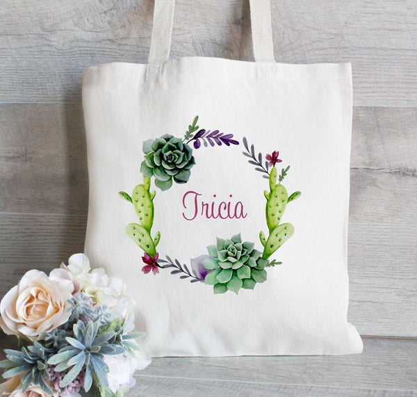 Bridesmaid Gift Tote Bag, Succulent Wedding Tote Bag,Personalized tote bag,  Bridal Party Gift and Favors, Canvas Tote