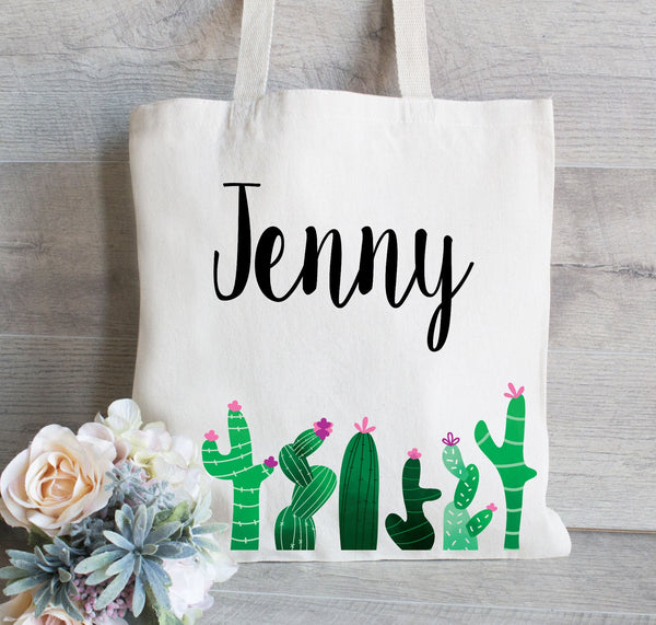 Bridesmaid Tote Bag for Party,  Cactus Tote Bag with Name, Personalized Tote for Wedding, Bridal Party Gift Bag, Bachelorette Tote Bag