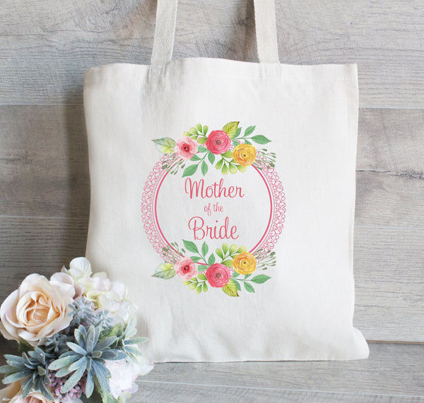 Wedding Tote Mother of the Bride, Set of 2, Mother of the Groom, Wedding Tote Bag, Wedding Party, Canvas Tote, Floral Wreath, Water Color