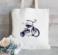 Ring Bearer Tote Bag, Wedding Favor Bag, Ring Bearer Bag, Wedding Welcome Bag, Tricycle Bike,  Wedding Tote Bag, Gift for Ring Bearer