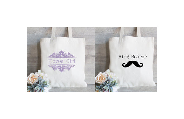 Flower Girl and Ring Bearer gifts, Set of 2 gift bags, Bridal Party gifts, Personalized Tote Bags