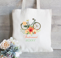 Bridesmaid Tote Bag,  Flower Girl Tote Bag,  Wedding Welcome Bag, Floral Bicycle Tote Bag, Gift for Bridesmaid
