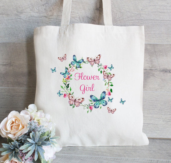 Flower Girl Tote with Butterfly Bag, Bridesmaid Tote Bag, Bridesmaid Wedding Welcome Tote Bag, Floral Wedding Tote Bag, Bridal Party Gift