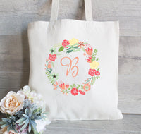 Bridesmaid Tote Bag, Floral Wreath Tote for Bridesmaid, Flower Girl Gift Bag, Personalized tote bag