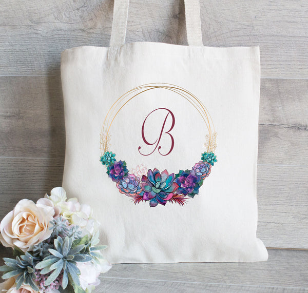 Succulent Monogram Tote, Best friend Gift,  Wedding Welcome Tote, Bridal Party Tote Bag,