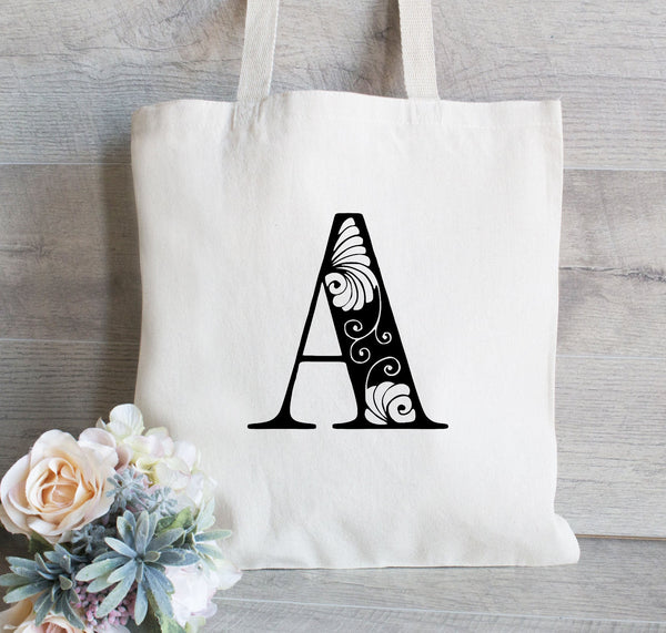 Monogrammed Tote Bag for Bridesmaid, Wedding Party Gift Bags, Classic Wedding Favor